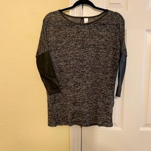Gray Top with Leather Detail